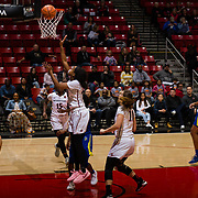 24 February 2018: The San Diego State women's basketball team closes out it's home schedule of the regular season Saturday afternoon against San Jose State. San Diego State Aztecs guard Cheyenne Greenhouse (30) attempts a lay up in the first half.  At halftime the Aztecs lead the Spartans 36-33 at Viejas Arena.<br /> More game action at sdsuaztecphotos.com