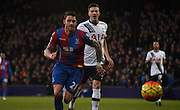 Connor Wickham chases down the loose ball during the Barclays Premier League match between Crystal Palace and Tottenham Hotspur at Selhurst Park, London, England on 23 January 2016. Photo by Michael Hulf.