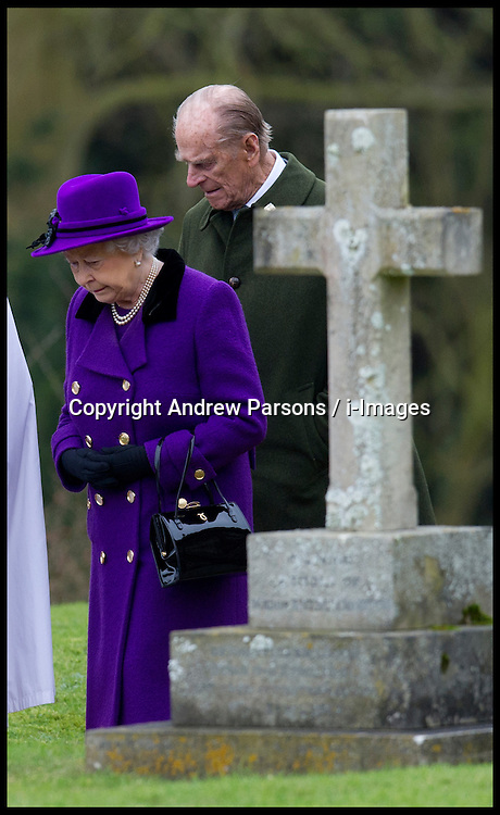 HM The Queen and the Duke of Edinburgh attend Church at West Newton, Norfolk, England, Sunday February 3, 2013. Photo: Andrew Parsons / i-Images
