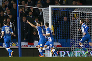 Brighton striker, Tomer Hemed (10)  celebrates his goal to put Brighton & hove Albion  1-0 up during the Sky Bet Championship match between Brighton and Hove Albion and Leeds United at the American Express Community Stadium, Brighton and Hove, England on 29 February 2016. Photo by Simon Davies.