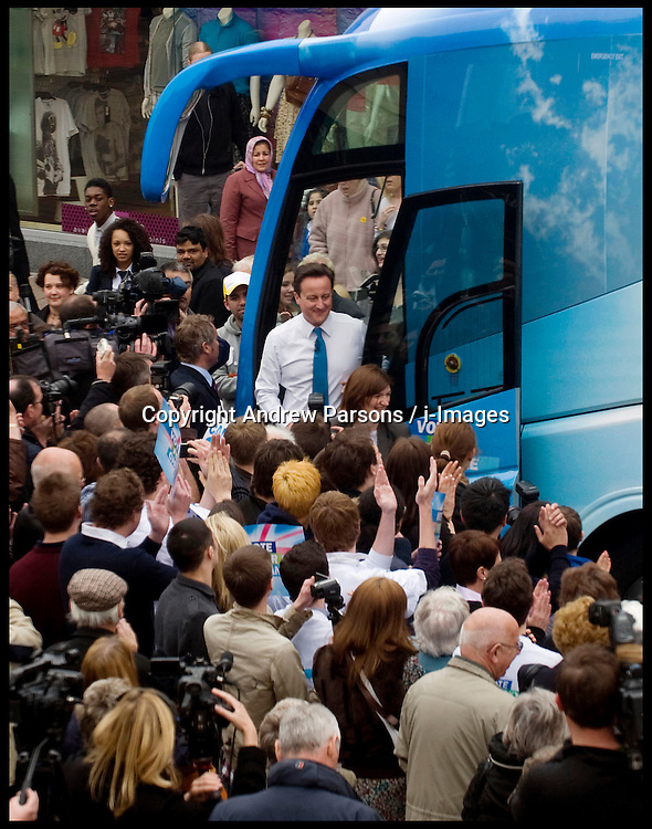 Leader of the Conservative Party David Cameron during a general election campaign rally in Loughborough, Monday April 12, 2010. Photo By Andrew Parsons / i-Images.