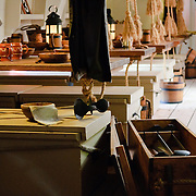 Interior below-decks of a full-size replica of Captain James Cook's HMS Endeavour ship on display at the Australian National Maritime Museum at Darling Harbour in Sydney