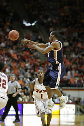 Sean Singletary (44) passes the ball against Virginia Tech.  Singletary's 16 points, including a singlehanded 13-0 run in the second half, helped lead the Cavs to a 54-49 ACC road win in Blacksburg.