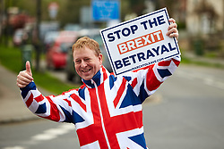 March 28, 2019 - Wendover, LONDON, UK - Wendover, UK.  Former UKIP candidate CHRIS ADAMS  walks through Wendover on the penultimate day of the March For Leave before heading to Beaconsfield.  A few hundred people starting walking from Sunderland two weeks ago and the march finishes in London tomorrow (Friday) (Credit Image: © Cliff Hide/London News Pictures via ZUMA Wire)