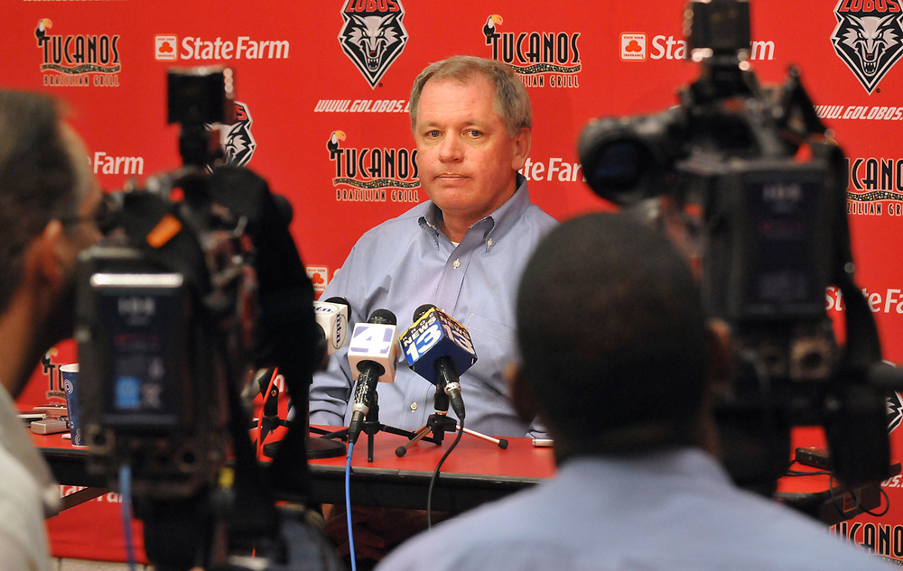 UNM's  Athletic Director Paul Krebs announced that the university has lost it's appeal to the NCAA on football sanctions. Thursday February, 25 ,2009. (Jim Thompson/Albuquerque Journal)