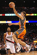Mar. 21 2010; Phoenix, AZ, USA; Phoenix Suns guard Goran Dragic (2) puts up a shot in the second half at the US Airways Center. The Suns defeated the Trail Blazers 93 to 87. Mandatory Credit: Jennifer Stewart-US PRESSWIRE.