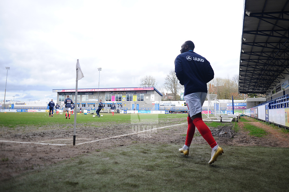 TELFORD COPYRIGHT MIKE SHERIDAN  Players take to the field  during the Vanarama Conference North fixture between AFC Telford United and Kettering at The New Bucks Head on Saturday, March 14, 2020.<br /> <br /> Picture credit: Mike Sheridan/Ultrapress<br /> <br /> MS201920-050