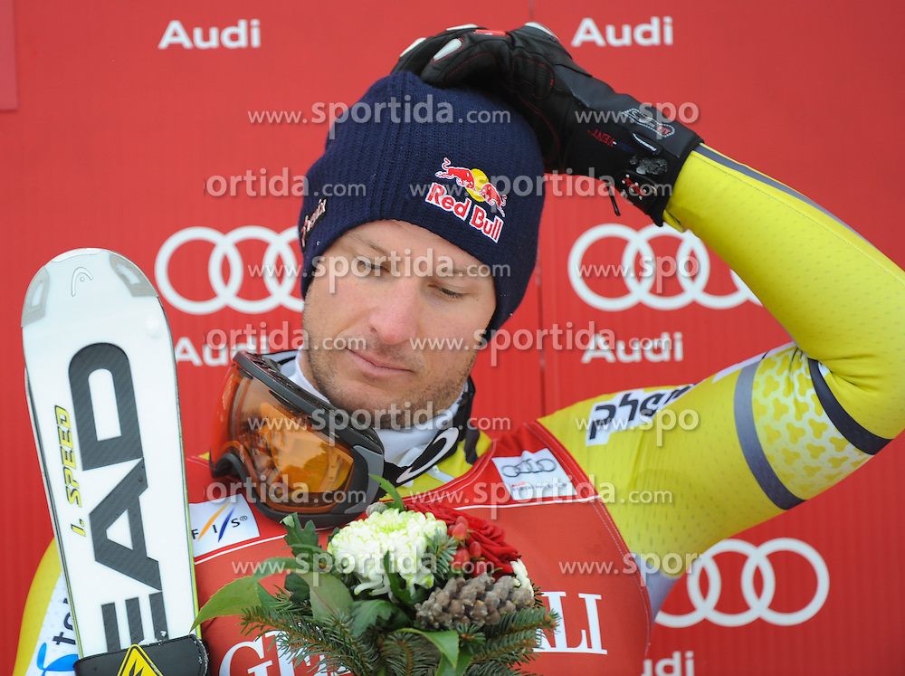 25.01.2013, Streif, Kitzbuehel, AUT, FIS Weltcup Ski Alpin, Super G, Herren, Podium, im Bild Aksel Lund Svindal (NOR, Platz 1) // 1st place Aksel Lund Svindal of Norway celebrate on podium during the mens SuperG of the FIS Ski Alpine World Cup at the Streif course, Kitzbuehel, Austria on 2013/01/25. EXPA Pictures © 2013, PhotoCredit: EXPA/ Erich Spiess