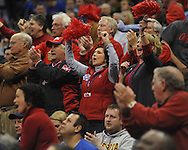 Ole Miss fans cheer during the game vs. La Salle in the Round of 32 of the NCAA Tournament at the Sprint Center in Kansas City, Mo. on Sunday, March 24, 2013. La Salle won 76-74.