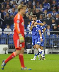 Chelsea's Eden Hazard is congratulated by Chelsea's Branislav Ivanovic - Photo mandatory by-line: Joe Meredith/JMP - Tel: Mobile: 07966 386802 22/10/2013 - SPORT - FOOTBALL - Veltins-Arena - Gelsenkirchen - FC Schalke 04 v Chelsea - CHAMPIONS LEAGUE - GROUP E