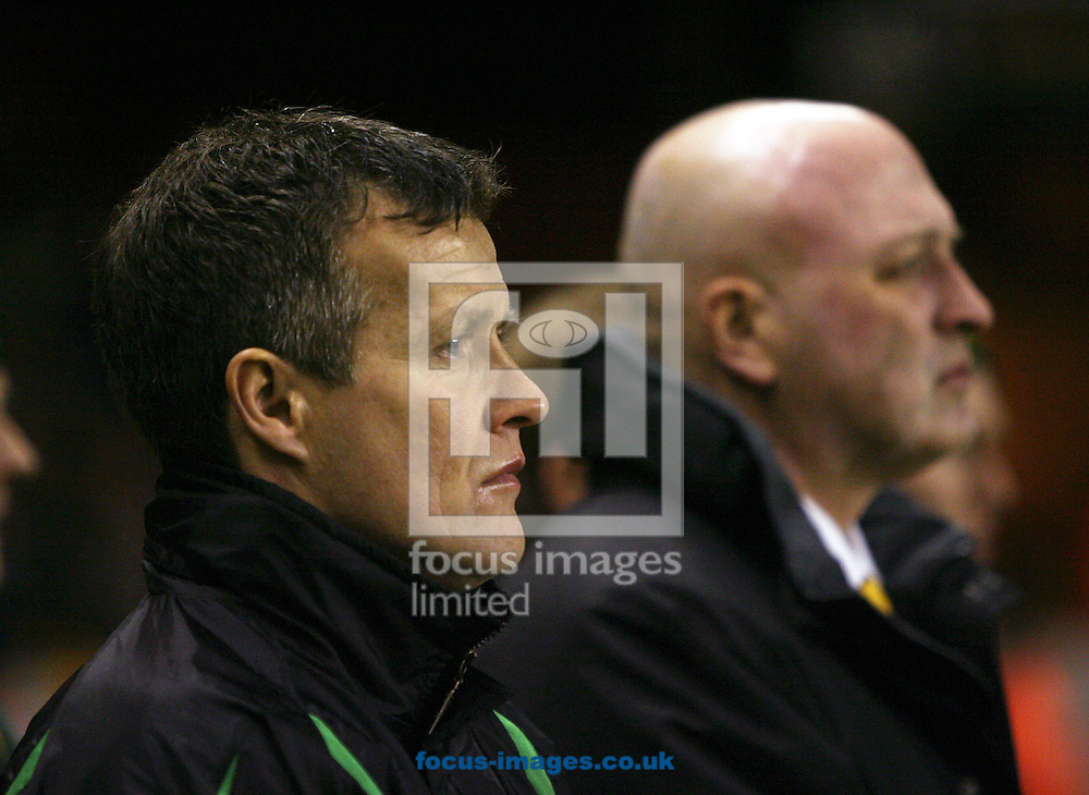 Wolverhampton - Tuesday February 3rd, 2009: Ian Butterworth (L), assistant manager to Bryan Gunn (R), manager of Norwich City during the Coca Cola Championship match at Molineaux, Wolverhampton. (Pic by Chris Ratcliffe/Focus Images)
