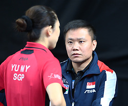 February 23, 2018 - London, England, United Kingdom - An Lin HAO Coach of Singapore.during 2018 International Table Tennis Federation World Cup at Copper Box Arena, London  England on 23 Feb 2018. (Credit Image: © Kieran Galvin/NurPhoto via ZUMA Press)