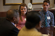 Rebecca Bycofski, left, and Luc Messenger listen to President Roderick McDavis and First Lady Deborah McDavis, during a meeting with Appalachian and Urban Scholars on Wednesday, November 2, 2016. ©Ohio University/ Photo by Kaitlin Owens