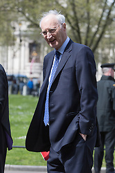 © Licensed to London News Pictures. 03/05/2016. LONDON, UK.  SIR GEORGE YOUNG leaving a service of Thanksgiving for the life and work of former Chancellor of the Exchequer, Rt Hon The Lord Geoffrey Howe of Aberavon CH PC QC at St Margaret's Church, Westminster Abbey.  Photo credit: Vickie Flores/LNP