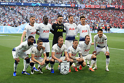 Back row, left to right, Tottenham Hotspur's Toby Alderweireld, Moussa Sissoko, Hugo Lloris, Jan Vertonghen and Dele Alli. Front row, left to right, Tottenham Hotspur's Danny Rose, Harry Winks, Harry Kane, Kieran Trippier, Christian Eriksen and Son Heung-min pose for a team photo before the UEFA Champions League Final at the Wanda Metropolitano, Madrid.