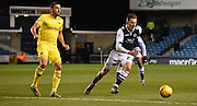 Jed Wallace looks to close down the loose ball during the Johnstone's Paint Trophy semi final first leg match between Millwall and Oxford United at The Den, London, England on 14 January 2016. Photo by Michael Hulf.