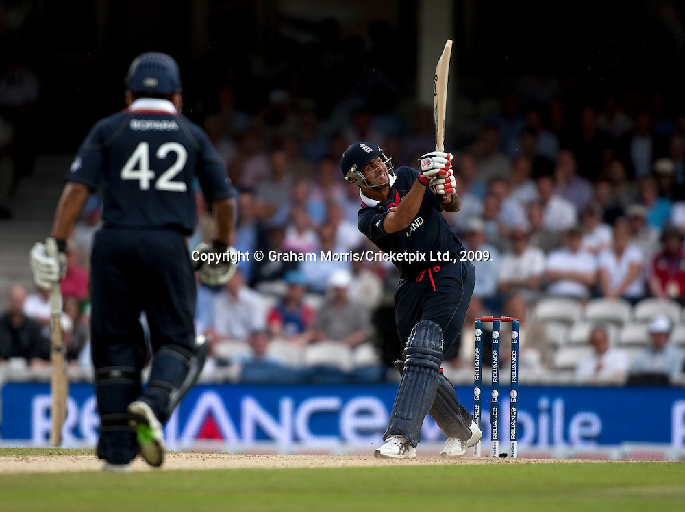 Owais Shah six during the ICC World Twenty20 Cup match between West Indies and England at The Oval. Photo © Graham Morris (Tel: +44(0)20 8969 4192 Email: sales@cricketpix.com)