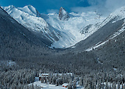 Aerial view of Bugaboos Lodge and Bugaboos Spires, Canadian Mountain Holidays heli-skiing & heli-snowboading, British Columbia, Canada