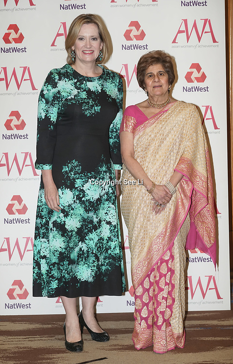 London, UK. 10th May 2017. Rt Hon Amber Rudd,Pinky Lilani attends The Asian Women of Achievement Awards 2017 at the London Hilton on Park Lane Hotel. Photo by See li Credit: See Li