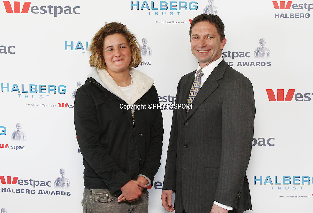 Rebecca Spence and Brad Cooper (CEO Westpac). Halberg Trust 1987 All Blacks Luncheon, Eden Park, Auckland, New Zealand, Friday 10 August 2007. Photo : Chris Skelton/PHOTOSPORT