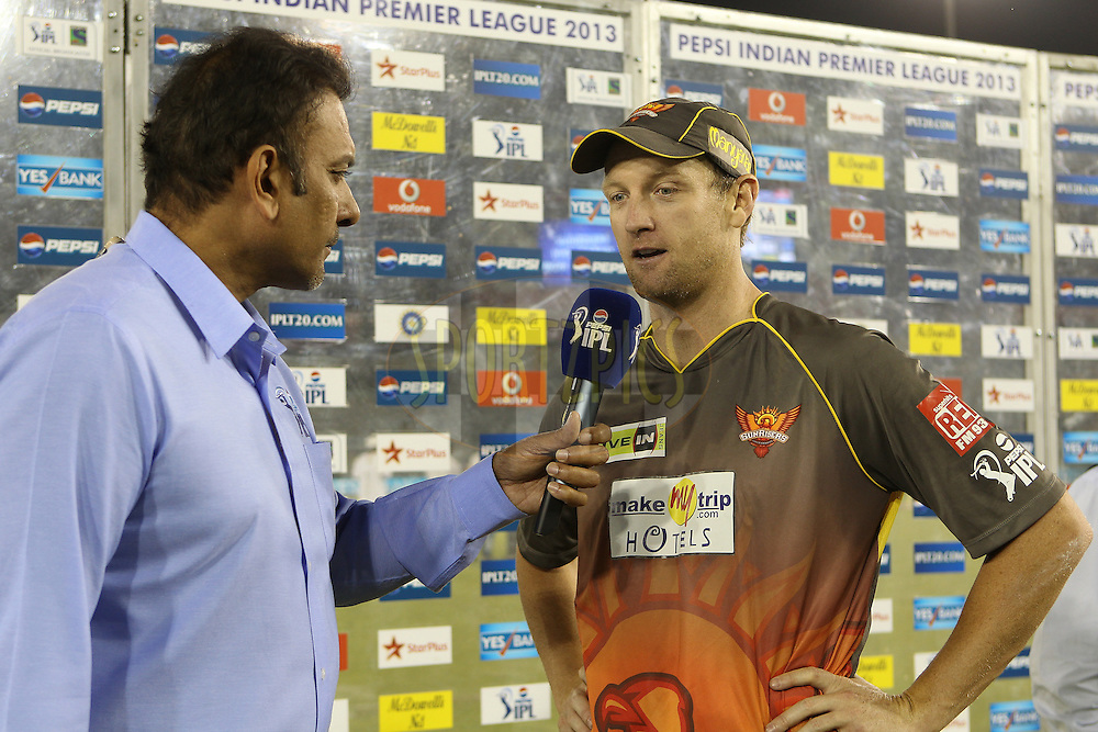 Cameron White interviewed after the match during match 59 of of the Pepsi Indian Premier League between The Kings XI Punjab and the Sunrisers Hyderabad held at the PCA Stadium, Mohal, India  on the 11th May 2013..Photo by Ron Gaunt-IPL-SPORTZPICS ..Use of this image is subject to the terms and conditions as outlined by the BCCI. These terms can be found by following this link:..http://www.sportzpics.co.za/image/I0000SoRagM2cIEc