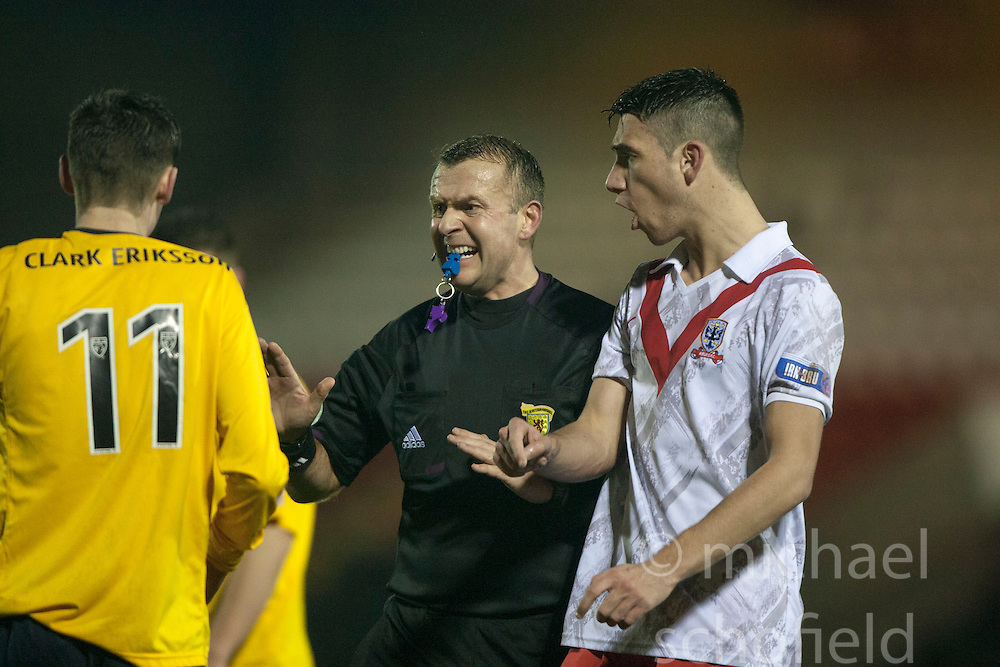 Falkirk's Conor McGrandles gets booked by ref tumilty..Airdrie United 1 v 4 Falkirk, 22/12/2012..©Michael Schofield.