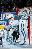 KELOWNA, CANADA -FEBRUARY 10: Jackson Whistle #1 of the Kelowna Rockets defends the net against the Seattle Thunderbirds on February 10, 2014 at Prospera Place in Kelowna, British Columbia, Canada.   (Photo by Marissa Baecker/Getty Images)  *** Local Caption *** Jackson Whistle;