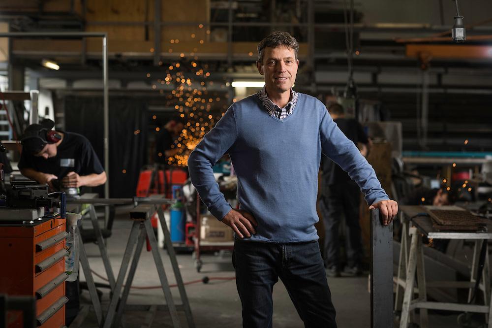 Daniel Hofmann, directeur de metallover, entreprise active dans le domaine des constructions métalliques, en verre et en acier inoxydable. Carouge, 16 septembre 2015.