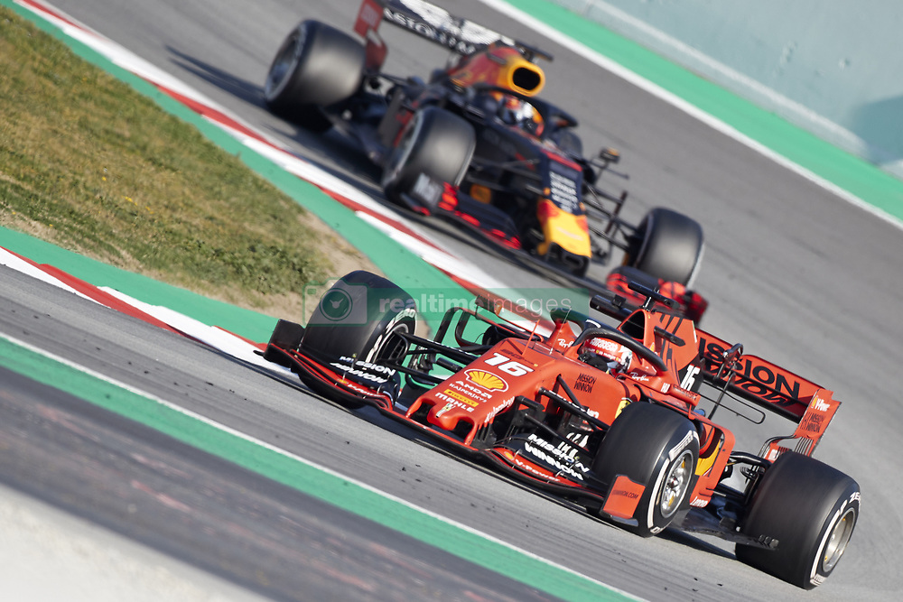 February 28, 2019 - Spain - Charles Leclerc (Scuderia Ferrari Mission Winnow) SF90  car and Pierre Gasly (Aston Martin Red Bull Racing) RD15 car, are seen in action during the winter testing days at the Circuit de Catalunya in Montmelo  (Credit Image: © Fernando Pidal/SOPA Images via ZUMA Wire)