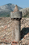 Fumari, the distinctivly high chimneys typical of houses on the island of Lastovo, Croatia