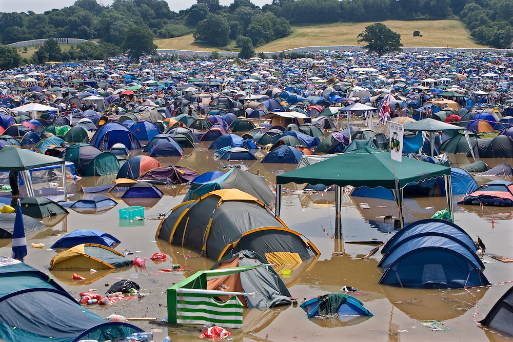 A field of flooded tents at the very wet 2005 Glastonbury festival.