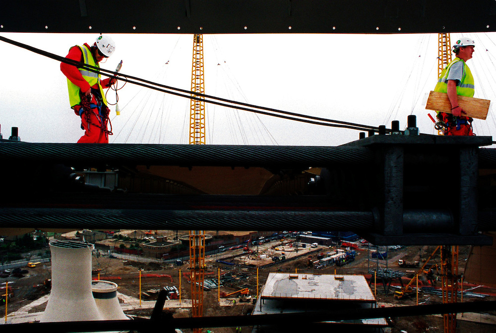 work continues at the  Millennium Dome Greenwich ..VIEWED FROM INSIDE THE CENTRE COLUMN