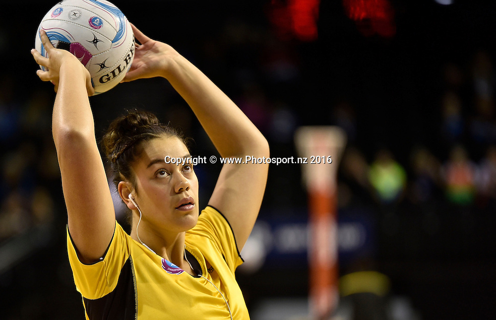 Pulse's Maia Wilson warms up during the ANZ Champs - Pulse v Mystics netball match at TSB Arena in Wellington on Monday the 18 April 2016. Copyright Photo by Marty Melville / www.Photosport.nz