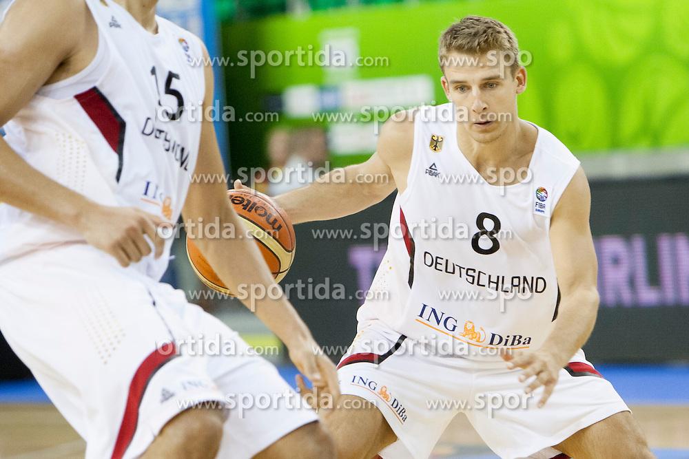 Heiko Schaffartzik #8 of Germany during basketball match between National teams of Germany and Ukraine at Day 3 of Eurobasket 2013 on September 6, 2013 in Tivoli Hall, Ljubljana, Slovenia. (Photo By Urban Urbanc / Sportida )
