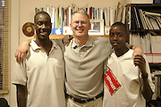 Ross Biddiscombe and friends from Kenya pose for a photo in London, England on July 9, 2003. ©Paul Anthony Spinelli