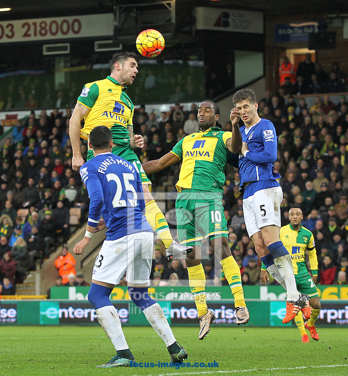Robbie Brady of Norwich heads for goal during the Barclays Premier League match at Carrow Road, Norwich<br /> Picture by Paul Chesterton/Focus Images Ltd +44 7904 640267<br /> 12/12/2015