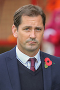 York City Manager Jackie McNamara  during Remembrance day during the The FA Cup match between Accrington Stanley and York City at the Fraser Eagle Stadium, Accrington, England on 7 November 2015. Photo by Simon Davies.