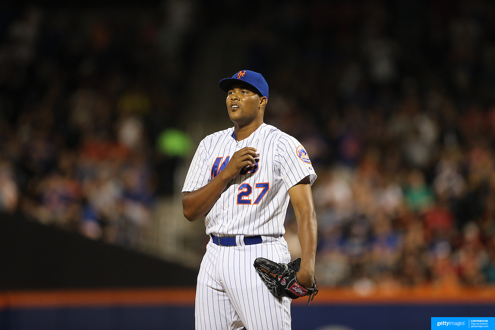 Pitcher closer Jeurys Familia, New York Mets, pitching during the New York Mets Vs Washington Nationals. MLB regular season baseball game at Citi Field, Queens, New York. USA. 1st August 2015. (Tim Clayton for New York Daily News)