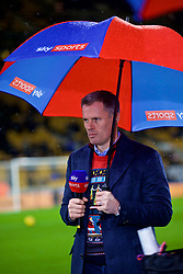WOLVERHAMPTON, ENGLAND - Friday, December 21, 2018: Former Liverpool player Jamie Carragher working for Sky Sports under an umbrella before the FA Premier League match between Wolverhampton Wanderers FC and Liverpool FC at Molineux Stadium. (Pic by David Rawcliffe/Propaganda)