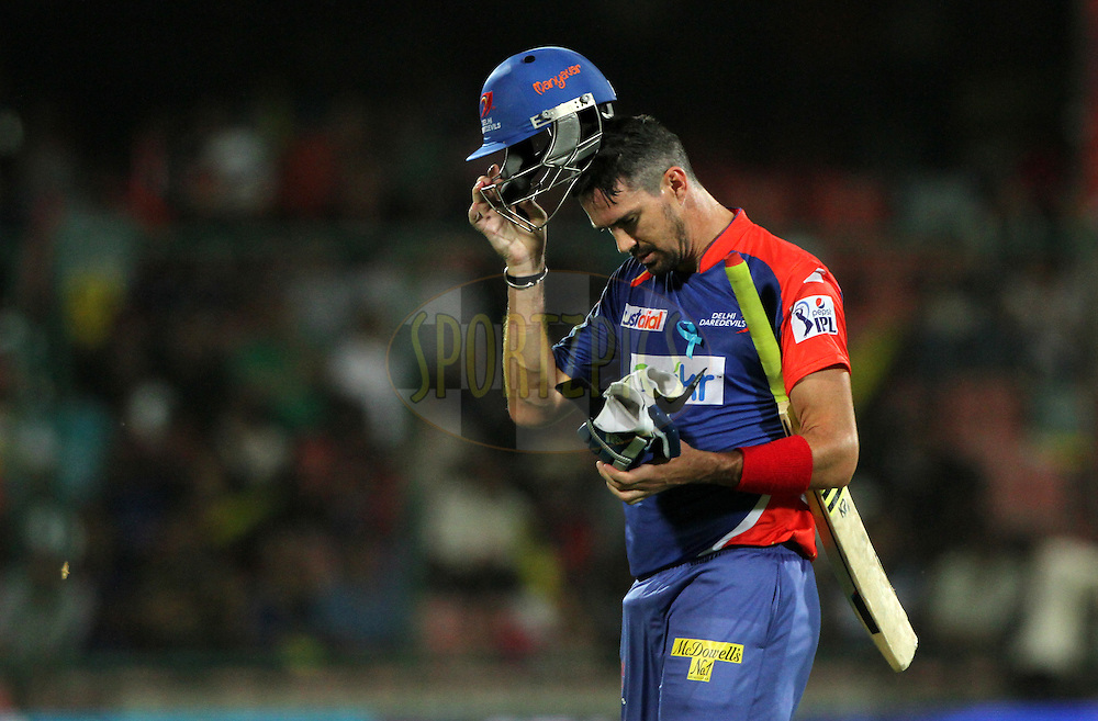 Kevin Pietersen captain of of the Delhi Daredevils walk back to pavilion during match 23 of the Pepsi Indian Premier League Season 2014 between the Delhi Daredevils and the Rajasthan Royals held at the Feroze Shah Kotla cricket stadium, Delhi, India on the 3rd May  2014<br /> <br /> Photo by Deepak Malik / IPL / SPORTZPICS<br /> <br /> <br /> <br /> Image use subject to terms and conditions which can be found here:  http://sportzpics.photoshelter.com/gallery/Pepsi-IPL-Image-terms-and-conditions/G00004VW1IVJ.gB0/C0000TScjhBM6ikg