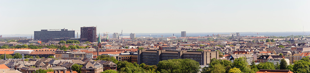 A view of Copenhagen and the Øresund, with noticeable landmarks including Rigshospitalet (Kingdom Hospital)