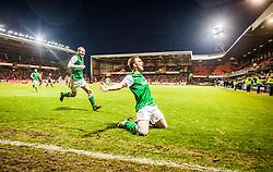Hibernian's Liam Craig celebrates towards fans, after scoring their second goal.<br /> Dundee United 2 v 2 Hibernian, Scottish Premiership game today at Tanadice.