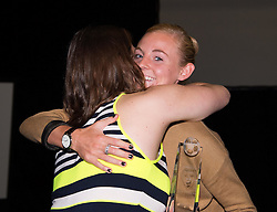 Sophie Ingle congratulates Mary Earps on her award of Player's Player - Photo mandatory by-line: Paul Knight/JMP - Mobile: 07966 386802 - 11/10/2015 - Sport - Football - Bristol - Stoke Gifford Stadium - Bristol Academy WFC End of Season Awards 2015