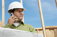 Construction Worker Using Cell Phone