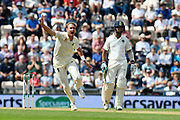 Not Out - Stuart Broad of England appeals for the wicket of Shikhar Dhawan of India but is given not out on review during day two of the fourth SpecSavers International Test Match 2018 match between England and India at the Ageas Bowl, Southampton, United Kingdom on 31 August 2018.