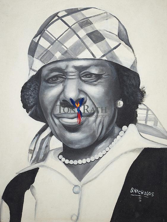 Art work of Garifuna woman by Benjamin Nicholas, Stann Creek District, Belize