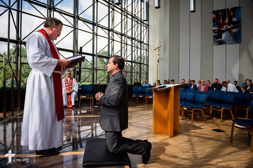 The Rev. Dr. Matthew C. Harrison, president of the LCMS, installs the Rev. Robert Zagore, executive director in the LCMS Office of National Mission, during a Service of Installation in the chapel of the International Center of The Lutheran Church–Missouri Synod on Wednesday, May 30, 2018, in St. Louis. LCMS Communications/Erik M. Lunsford