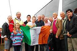 Welcoming home the Champion, Ray Moylette was greeted by a great crowd of supporters in Islandeady on saturday evening..from left Richard Moylette, Michael & Ciara McManamin, Des Ryan Islandeady GAA Club Chairman, Cllr Eugene McCormack, John Cawley Seamus Moylette, Eaman Walsh John Collins, Joe Moylette and Vincent Lawless...Pic Conor McKeown..Pic Conor McKeown
