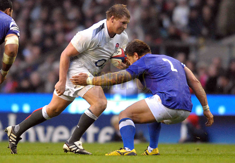 © SPORTZPICS / SECONDS LEFT IMAGES 2010 - Rugby Union - Investec Challenge - England v Samoa - 20/11/10 - England's Dylan Hartley takes on fellow Hooker,  Mahonri Schwalge - at Twickenham Stadium UK - All rights reserved