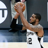 01 May 2017: San Antonio Spurs forward LaMarcus Aldridge (12) takes a jump shot during the Houston Rockets 126-99 victory over the San Antonio Spurs, in game 1 of the Western Conference Semi Finals, at the AT&T Center, San Antonio, Texas, USA.